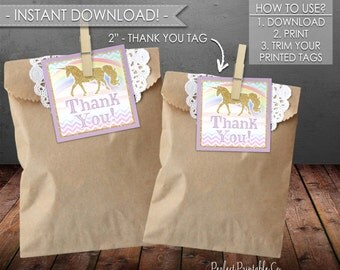 Unicorn Thank You Tags, Unicorn Favor Tags, Unicorn Gift Tags, Unicorn Birthday, Unicorn Baby Shower, Instant Download, Printable PDF #486