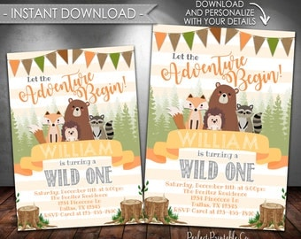 Baby Shower Invitation Let The Adventure Begin Woodland