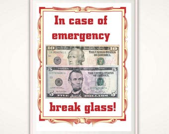 In Case of Emergency Break Glass -PRINTABLE, Teenager Gifts, 18th Birthday Gift, 21st Birthday Gift, Funny Gifts for Him, Teen Boy Gift