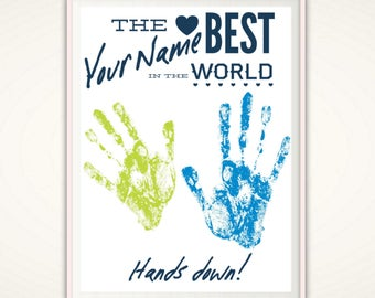 2 x Personalized Handprints, Custom Handprint Art, Gift from Kids, Gift from Grandkids, DIY Gift Idea, PRINTABLE Personalized Gift