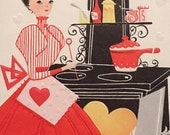 Vintage Valentine Card Vintage Stove Vintage Dress Baking Unused NOS Mid Century 1950s