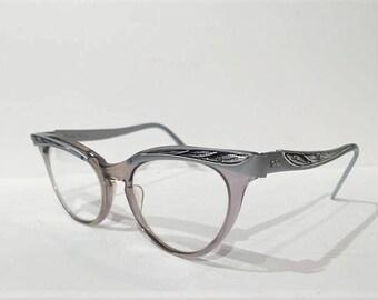 50s Aluminum Cat Eye Glasses Frames, 60s Shuron Black Silver Combination Cateye Glasses, Large Size, Vintage Gray Cateye Browline Rockabilly