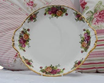 Reserved for K. Royal Albert, Old Country Roses, Eared Sandwich Plate, Vintage Sandwich Plate, Floral Bone China Plate, 1960's Bone China,