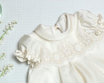 Light Ivory Silk Baptism dress - Personalized Christening gown - vintage wedding baby dress - Silk lace toddler dress