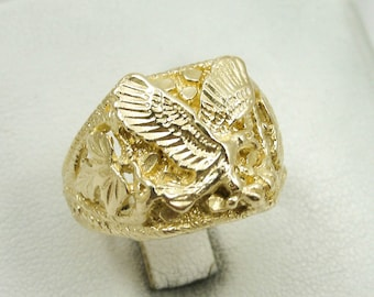 BRAND NEW! Solid 10K Yellow Gold Large Mens Eagle Leaf Nugget Ring, Size 5 - 15
