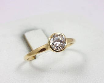 Solid 14K Yellow Gold 0.43 CT Bezel Set Diamond Solitaire Engagement Ring Size 7