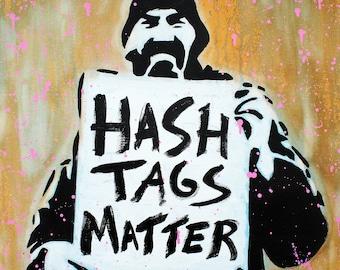 """MR.BABES - """"Hashtags Matter"""" - Original Pop Art Painting - All Black Lives Portrait"""