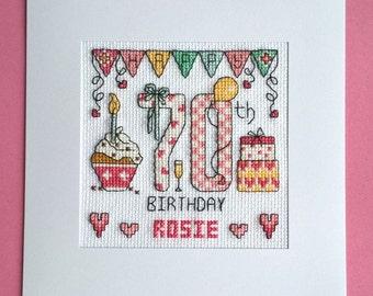 Happy 70th Birthday cross stitch card kit