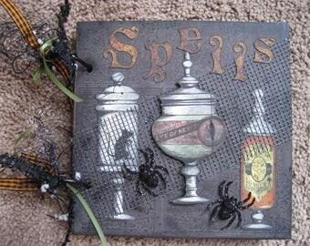 Spell Book - Chipboard - Mini Album - Halloween - All Hallow's Eve - Photos - Spells - Recipes