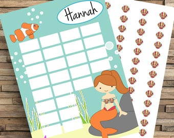 Mermaid Reward Chart, Kids Reward Chart, Potty Training Chart, Chore Chart, Mermaid, Routine Chart, Sticker Chart, Good Girl Chart, Homework