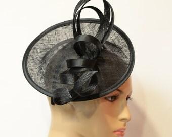 Black sinamay fascinator, Kate Middleton Style Fascinator , Kentucky Derby Fascinator, English Royal, Wedding,Church , Formal , Dressy Hat