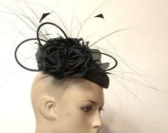 Black sinamay fascinator, Kate Middleton Style Fascinator , Kentucky Derby Fascinator, English Royal, Wedding, Church ,Formal Hat,Dressy Hat