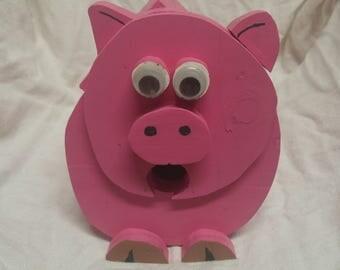 Handmade Pig handpainted, bird house
