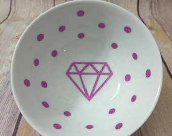 Glitter Diamond ring dish with polka dots