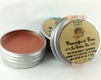 Passionfruit Rose Lip Butter, Lip Balm, Lip Balm Pot, Vegan