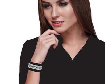Cuff Bracelet - 'Strip' - black suede with diamanté and rhinestone strips