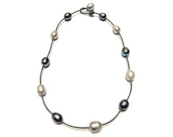 "New Stylish & Edgy Fresh Water Pearl ""Tin Cup"" Style Leather Choker Necklace"