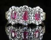Antique Georgian Ruby Diamond Ring Triple Cluster