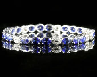 Sapphire Diamond Line Bracelet 18ct White Gold 13ct of Sapphires and Diamonds