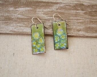 Enameled Green Floral Earrings