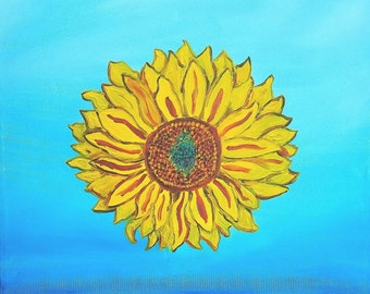"Sunflower, 20 x 20"", Original Oil"
