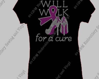 Walk for a Cure High Heel Rhinestone Ladies T-Shirt, Personalized T-Shirt, Women's T-shirt,  Ladies Tee