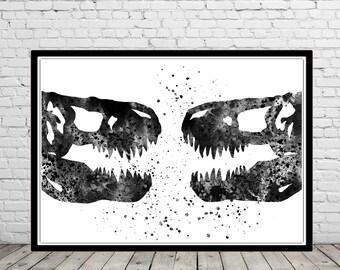 T-Rex, Tyrannosaurus Rex, dinosaur watercolor, T-Rex skeleton head, T-rex head, T-Rex skeleton, animal art, Dinosaur, Dinosaur art (2672b)