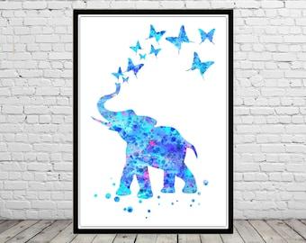 Elephant, watercolor print, elephant art, animal art, watercolor elephant, nursery elephant, blue elephant, safari nursery (2819b)