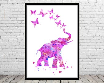 Elephant, watercolor print, elephant art, animal art, watercolor elephant, nursery elephant, pink elephant, safari nursery (2819b)