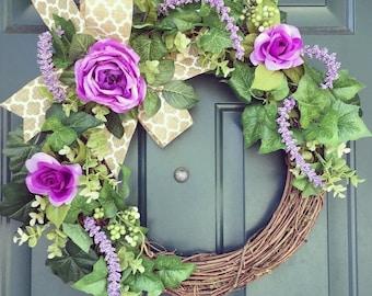 Purple colored spring Wreath/ Wicker Wreath/ Spring Wreath