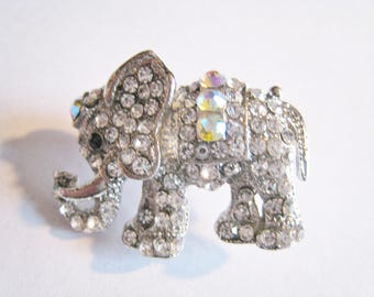Rhinestone Elephant Pin