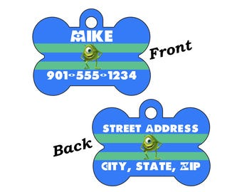 Disney Monsters Inc Mike Wazowski 2-SIDED Pet Id Tag for Dogs and Cats Personalized w/ 4 Lines of Text