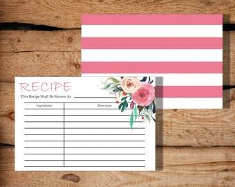 Modern Recipe Card / Downloadable Recipe Card / Printable Recipe Cards / Card Recipe / Recipe Cards Printable / Recipe Card Template