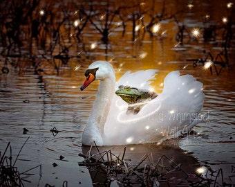 Magic Swan Print -  Fantasy Art Print - Story Book Art -  Fairy Tale Swan - Bull Frog - Nursery Decor - Children's Room - Mute Swan