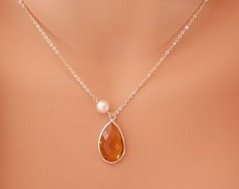 yellow Citrine necklace november birthstone necklace Yellow Citrine Personalized Gifts Bridesmaid Necklaces november birthstone jewelry