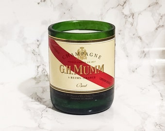 Upcycled Mumm Champagne Bottle Candle