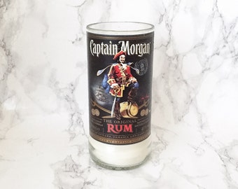 Upcycled Captain Morgan Rum Bottle Candle