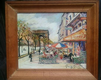Vintage Artist George Hann/Enchanting Paris/Mounted Print 29x24