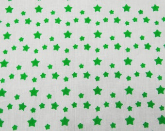 "Decorative Fabric, Green Star Print, White Fabric, Upholstery Fabric, Sewing Crafts, 56"" Inch Cotton Fabric By The Yard ZBC7376A"