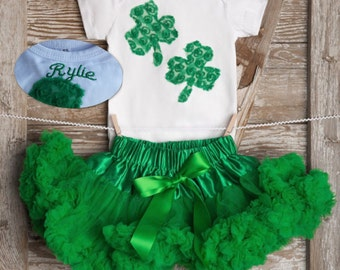 Personalized Baby St Patrick's Day Outfit, Green Shamrock Outfit, Girls St Patricks Day Outfit, First St Patricks Day Baby