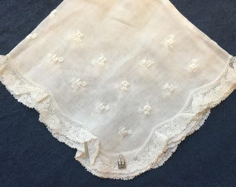 LDS Vintage Hankie, FREE SHIPPING 1930s-Style Temple Wedding Handkerchief White Bridal Lace Hankies Handkerchiefs Embroidered Bride