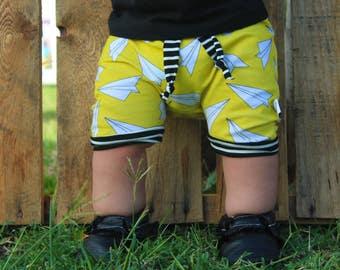Harem Shorts, baby shorts, kids shorts, beach wear, bummies, boys shorts, airplane, hip apparel, kids apparel, knit short