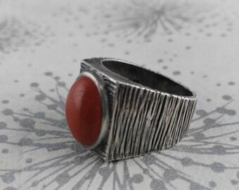 Modernist 925 Ring - Brutalist 925 Ring - 1970s Silver Ring - UK Size P Ring - Sterling Silver Ring - HJ Silver Ring - Gift for Women
