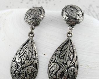 Celtic Knot Earrings - Funky Drop Earrings - Grey Vintage Earrings - Mystical Earrings - Gift Her Woman Lady - Festival Earrings