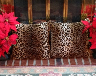 2 Tissavel Leopard Faux Fur Pillows/Finest Faux Fur in the World/Machine Wash-Dry/Perfect Gift for Anyone/Gift-Ready Box/Ready to Ship!