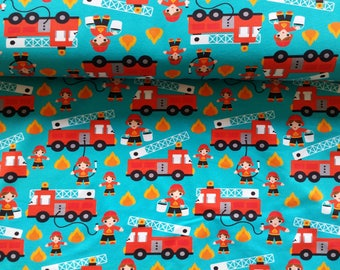 Fire Engines Cotton Lycra Jersey Knit Fabric
