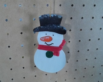 Hand Painted& Handmade Snowman Ornament