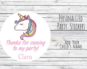 Unicorn Personalized 12/20/35 Birthday Party Favor Tags, Fairytale Theme, Bag Tags, Thanks for Coming, 1st Birthday Stickers, Magical