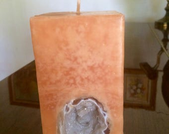 Crystal Geode Candle~ Peach Tall Square Scented Pillar Candle with an inlaid Crystal Geode that illuminates when lit!