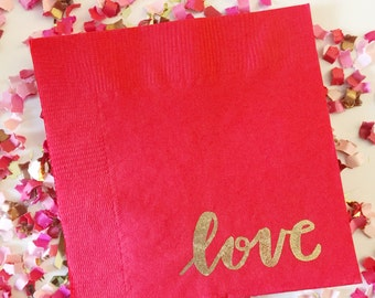 Beverage Napkins | Set of 25 Napkins | Love | Valentine's Day | Galentine's Day Party | Gold Embossed | Party Decor Napkins